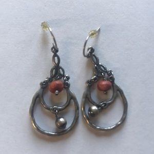 Silpada silver & orange bead earrings